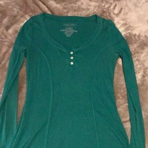 Teal, long-sleeved t-shirt